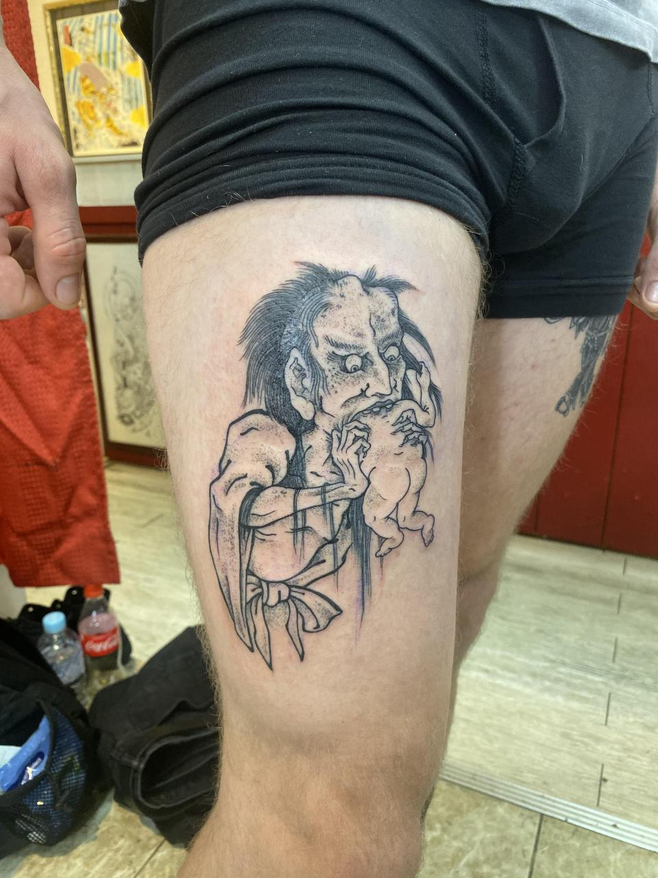 Saturn Devouring His Son by Jan Willem (guest spot) at Three Tides Tattoo in Osaka, Japan