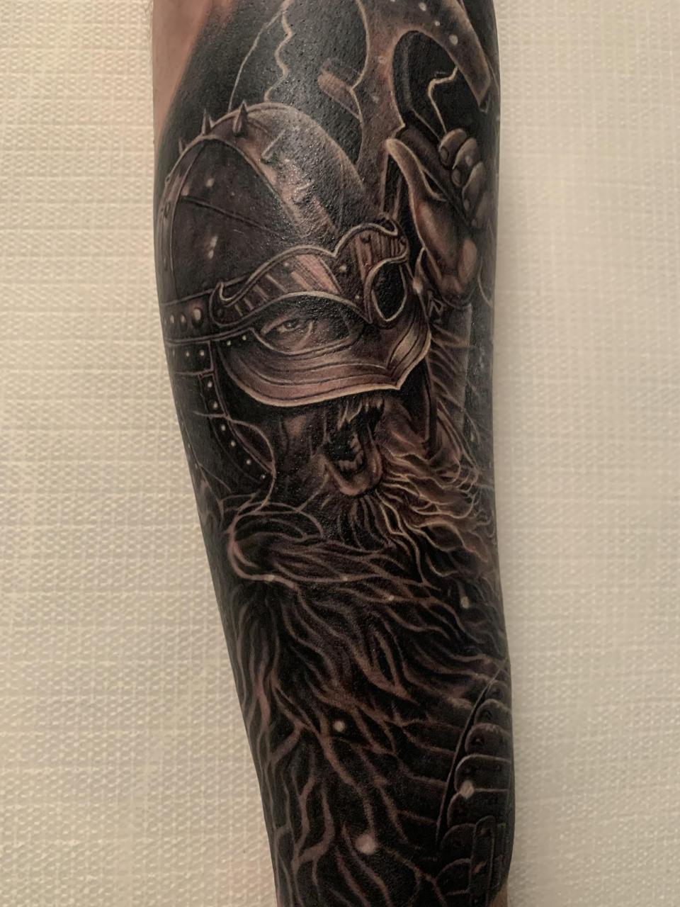 The start of my Norse Mythology sleeve. A Viking warrior by James Wilbraham at Black Haus in Leek UK 8.5 hour sitting. (Lower arm)
