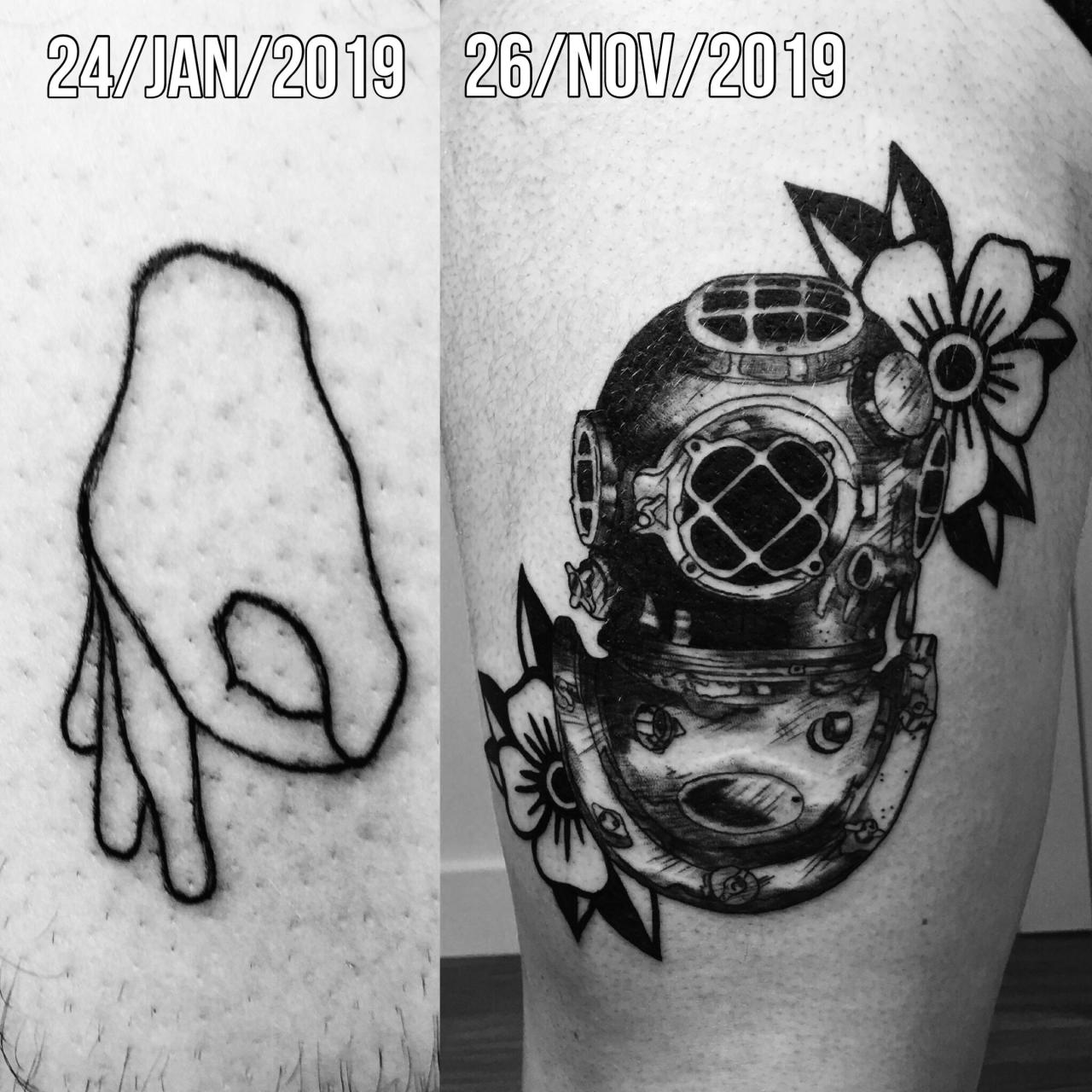 Here's the first and latest tattoo I made! Not perfect but I'm getting a little bit better.