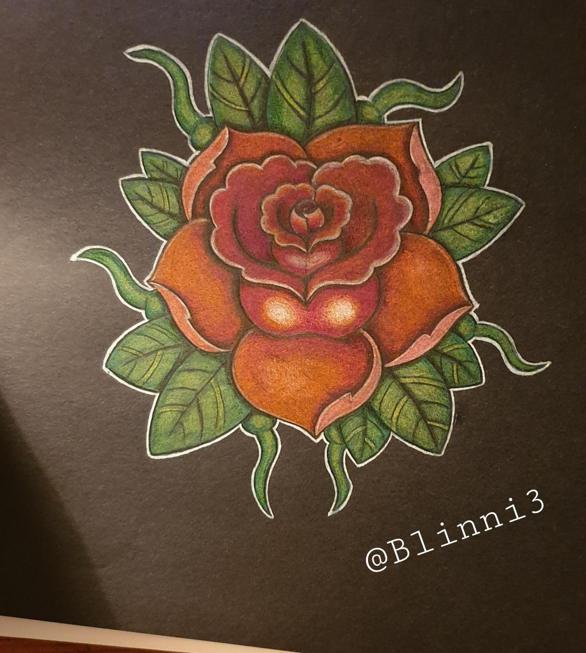 A newschool rose (trying out my new fancy black paper)