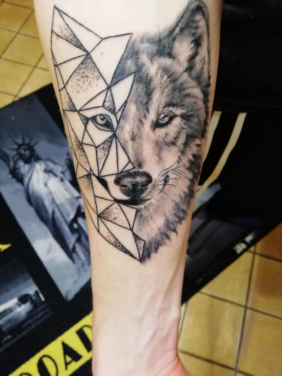 Two faced wolf by Vero from Pat Ink, Paderborn, Germany