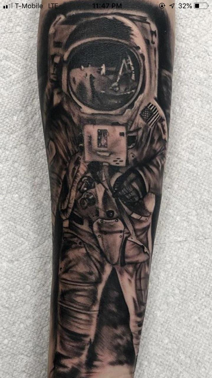 First tattoo. The start of a special space/alien themed sleeve. Done by Jay Rill at the Inkwell in Southampton PA, 18966