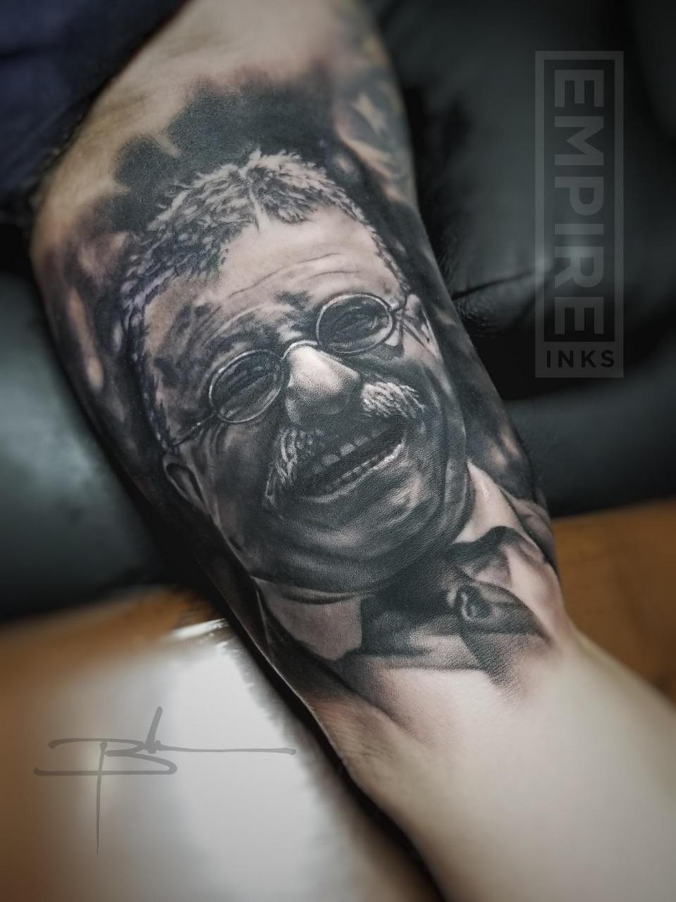 Teddy Roosevelt portrait, done by Brandon Evans, Revolution Ink IG @revcrew01