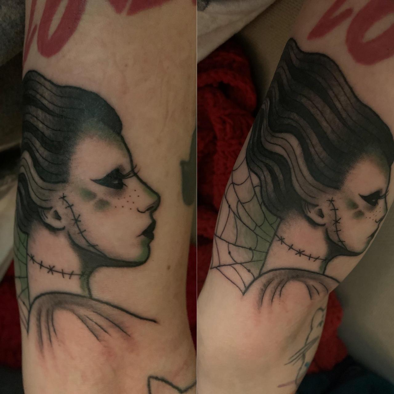 Kind of hard to photograph because I have tiny arms, but I got a Frankensteined Gaga today from Mo at Eternal Tattoo