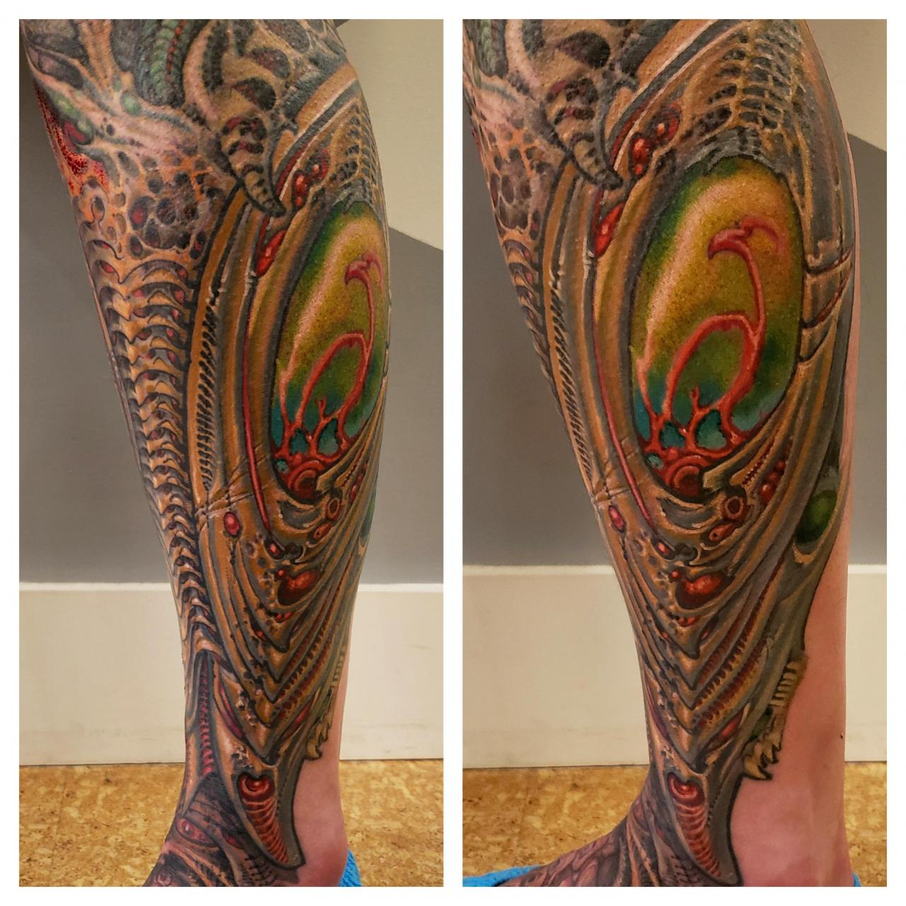 Biomech lower leg by me, Jeff Croci of 7th son tattoo in San Francisco CA
