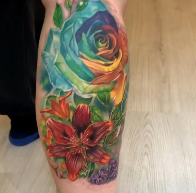 Got my leg piece halfway done! By Gretta Alva, Ottawa ON