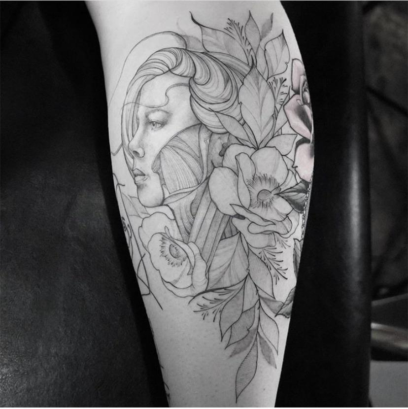 Back of the leg by Matthew Evans at Ethereal Tattoo Gallery in Durham, NC