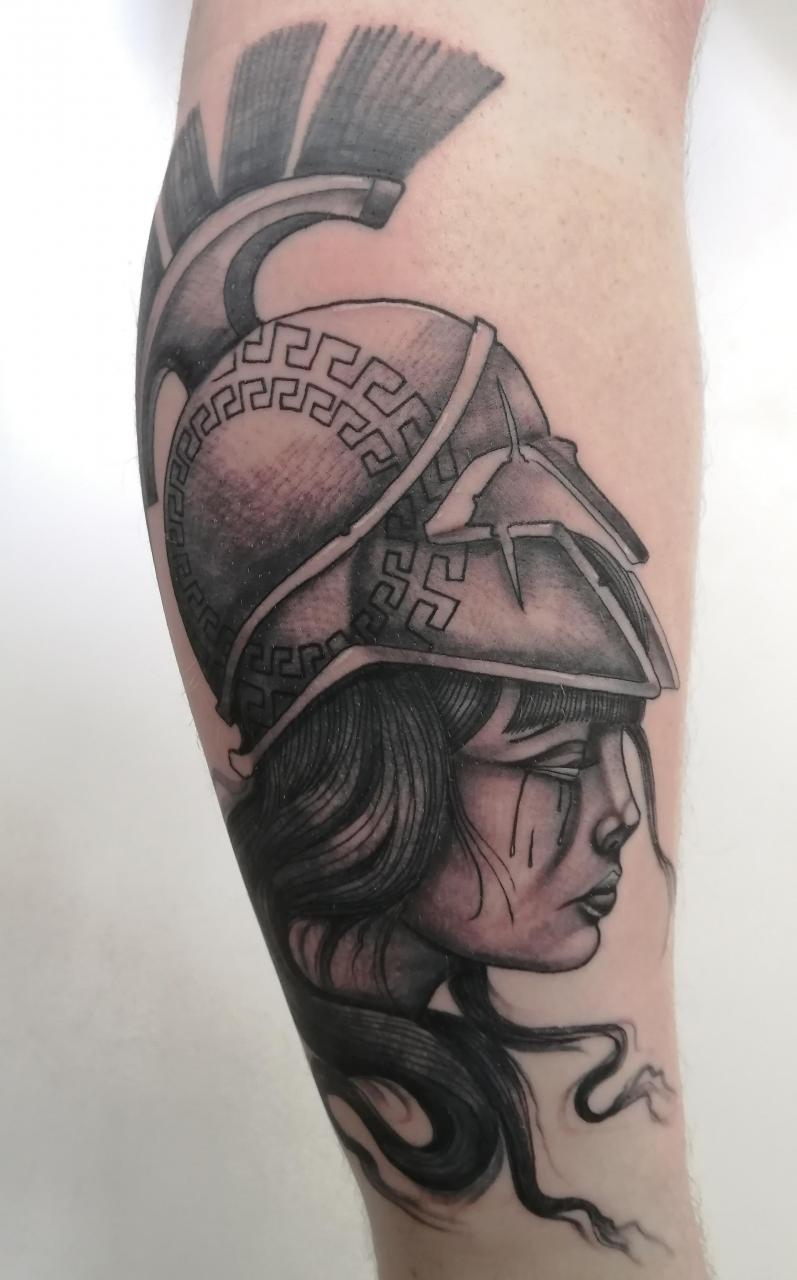 Athena as my first leg tattoo. Done by Byron Barker at The Body Architects, Cape Town, South Africa