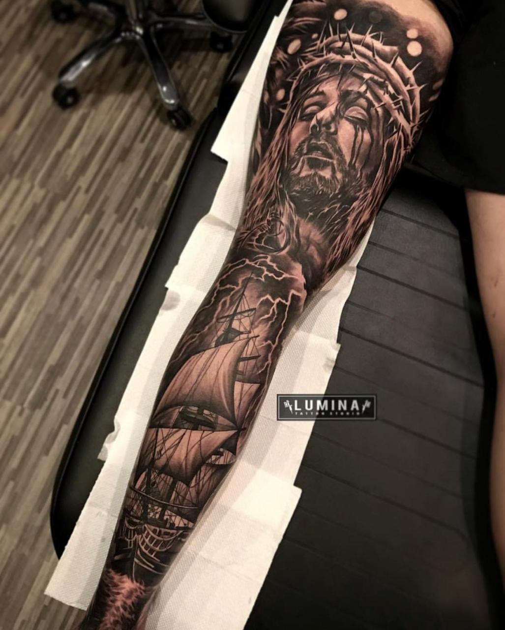 Back of my leg sleeve done by Dode Pras out of Bali Indonesia