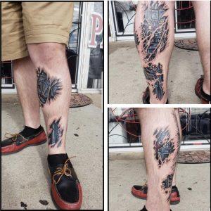 Biomechanical leg done by Derik Hetzer at Big Time Customz tattoo in Douglasville, GA
