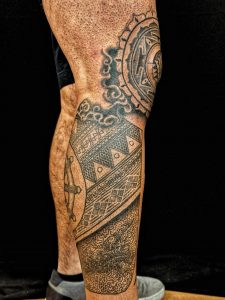 The Other Side of my Leg Sleeve in Progress: Inspired by my Spirituality and Polynesian Background - by Ben Hoteling @ The Missing Piece, Spokane WA.