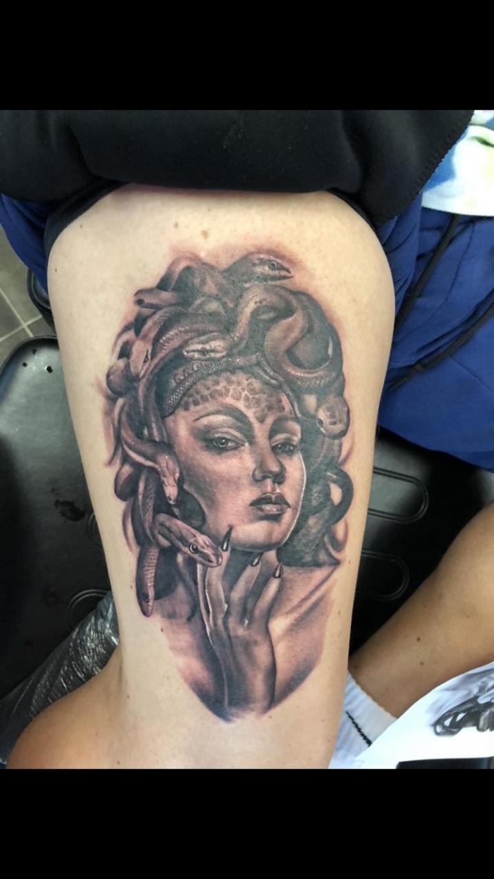My other leg. Medusa done by Rodney Eckenberger our of Stillhouse Tattoos in South Bend, IN.