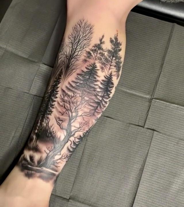Final image of my leg forest. Done by Sam Al at Tattoo Gallery, Ferndale MI
