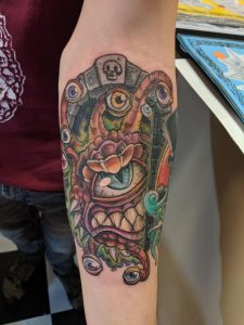 Beholder on my left arm done today. Done by Charlie Baker @ Mr. Tattoo . Augusta, GA.
