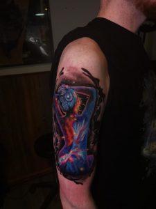 Upper arm piece by Esztor at Rock'n'Roll Tattoo, Glasgow