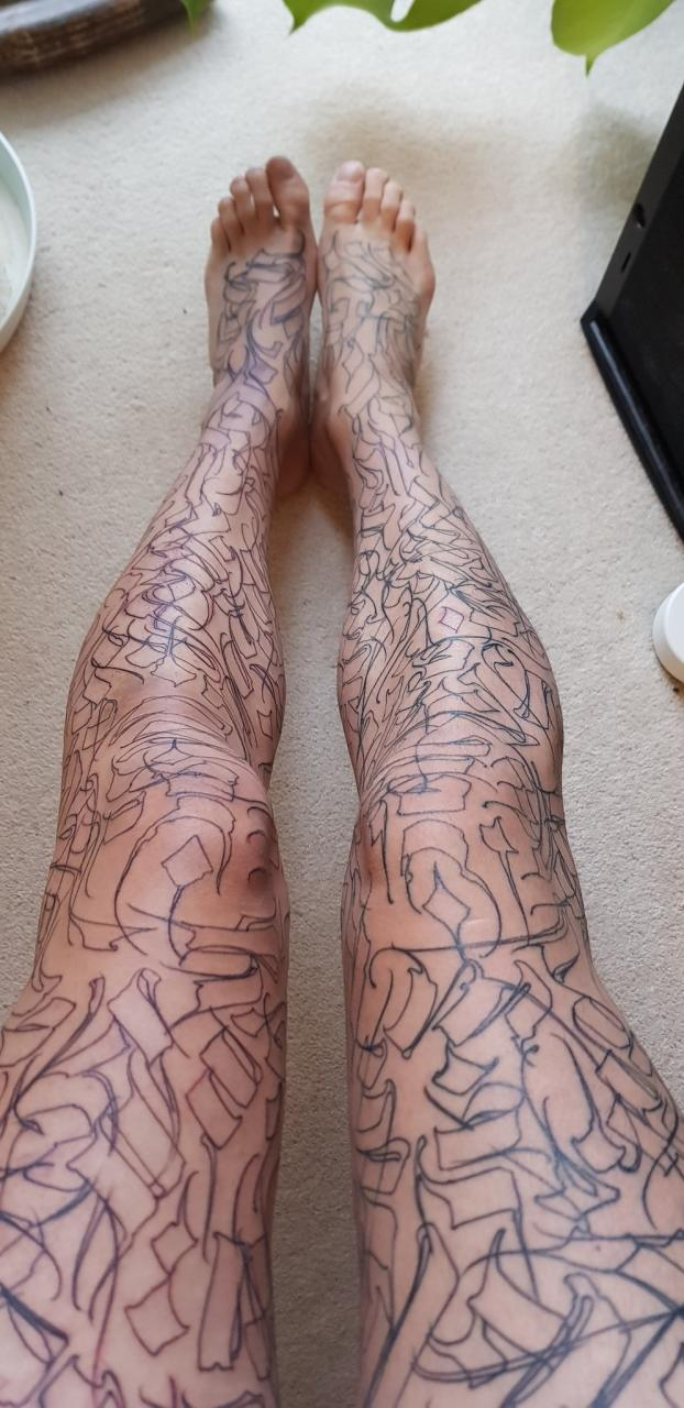 The start of some leg sleeves - by Gordo Letters at Lacemakers Sweatshop, London
