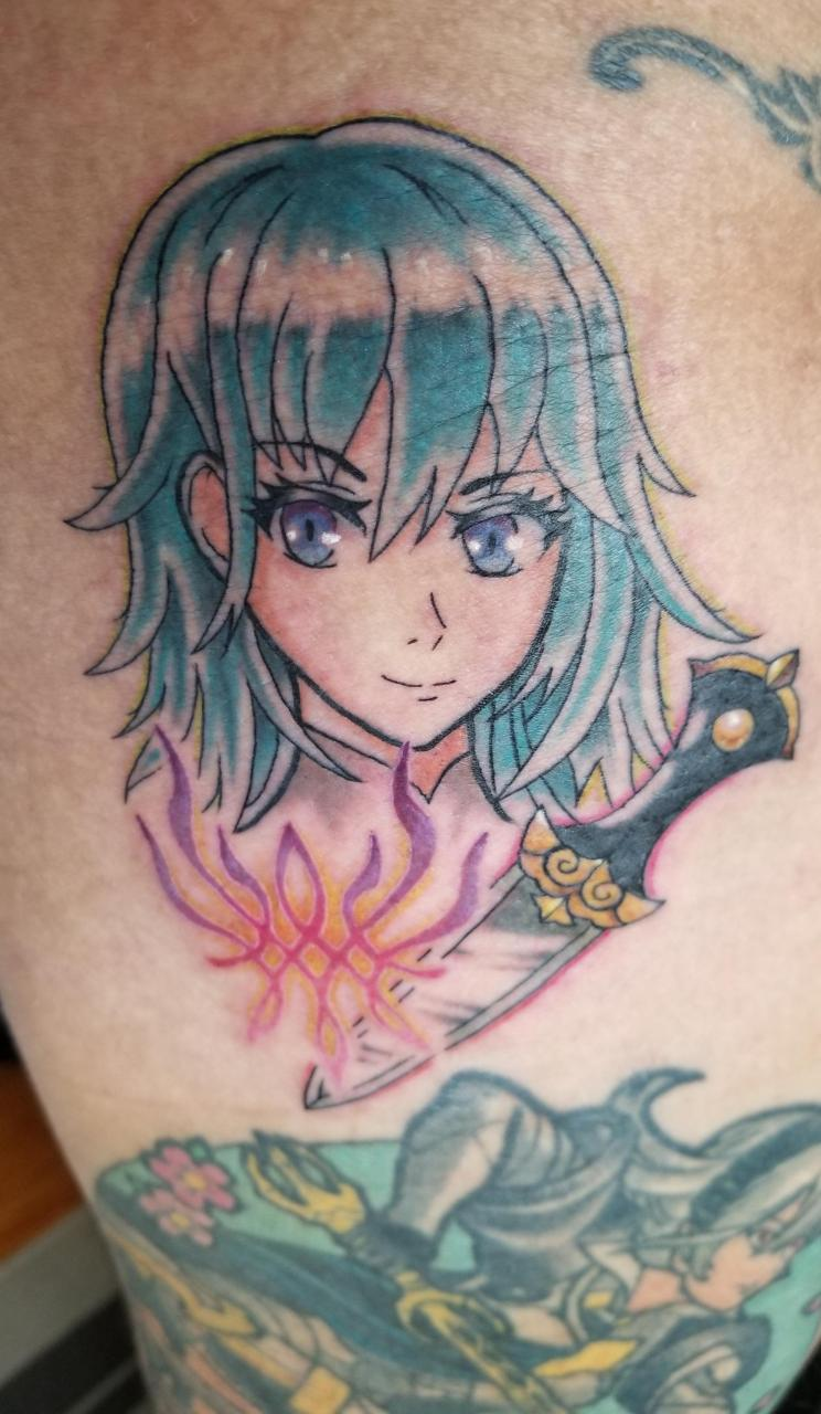 Added Byleth to my FE leg piece! Done by Niiru Dominguez at Red Baron Ink East, NYC, NY