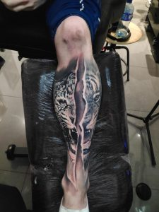 14 hours into my leg sleeve done by Marcin Sonski