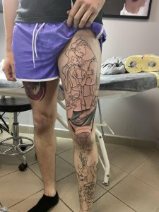 Outline to my disney leg sleeve done while traveling! Done by Catya at Devils ink Powidz, Poland