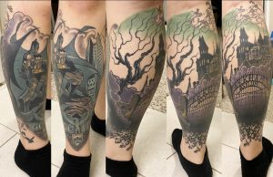 Jim Lee Batman inspired leg sleeve! Done by Jason at Golden Rule tattoo in PHX, AZ