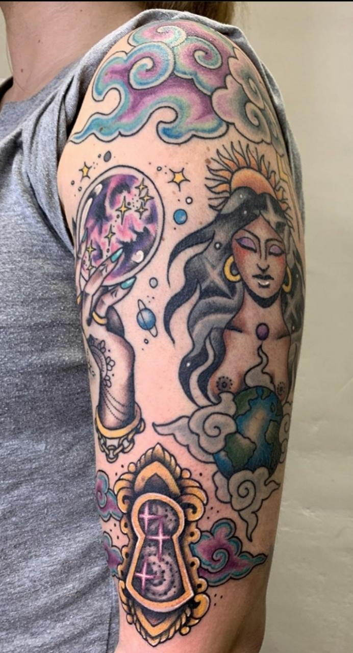 My cosmic themed upper arm. Done by Laura Kennedy at Satellite in the Sky, Glasgow, UK.