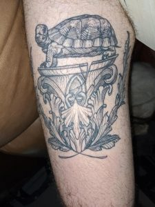 My mighty God Om. Terry Pratchett inspired piece by Rachael Hauer from East River Tattoo in Brooklyn, NY. It's high up my leg do nsfw just in case.