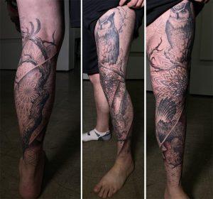 Birds of Prey Leg Sleeve w/Sacred Geometry by Daniel Meyer @ Das Leitbilt Tattoo, Los Angeles, CA