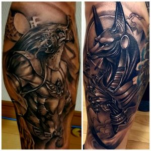 Figured out how to collage but still suck at it lol. Behold my Egyptian Gods! Horus and Anubis face to face on my left leg.