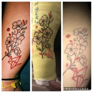Got this tattoo the day before I broke my arm back in October. Many of you asked for updates. Out of the cast for almost a month now. Will definitely be getting it touched up but could definitely be worse! Emily - Heroic Ink, Ames, IA.