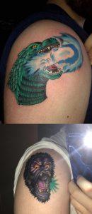Godzilla(right arm) vs King Kong(Left arm)!!! King Kong done at Trader Bobs Tattooing done by Joey at St.Louis, MO. Godzilla at Flatline by Wayne at Oxford,MS.