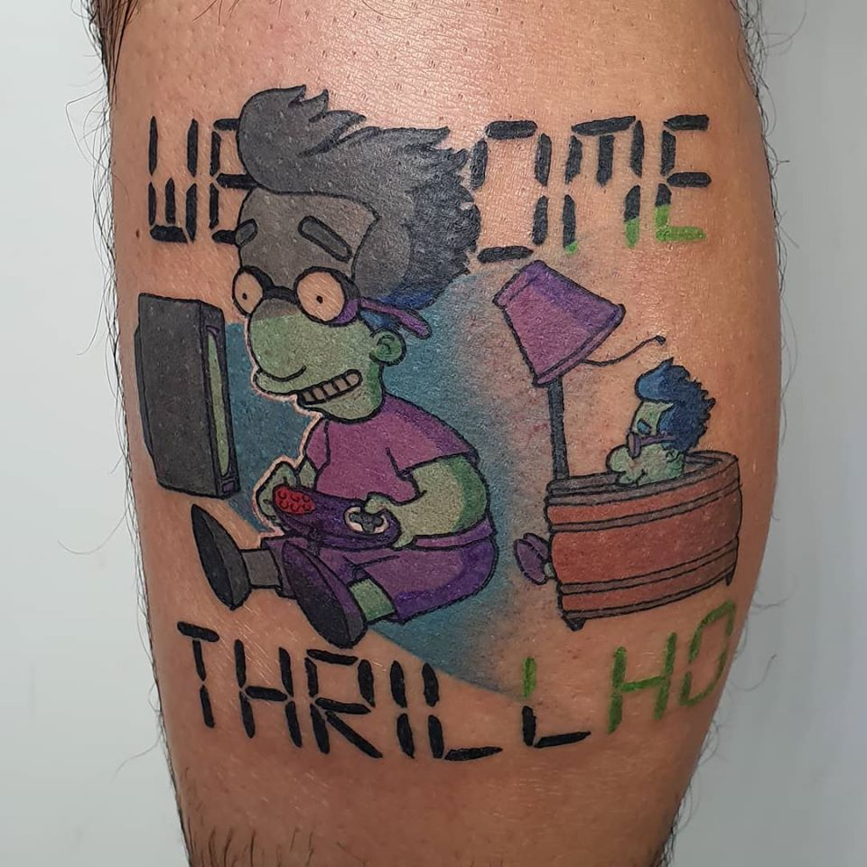 Got Thrillho done on my leg today by Mitch Pleasence @ GoodPeopleTattoing, Melbourne, Australia