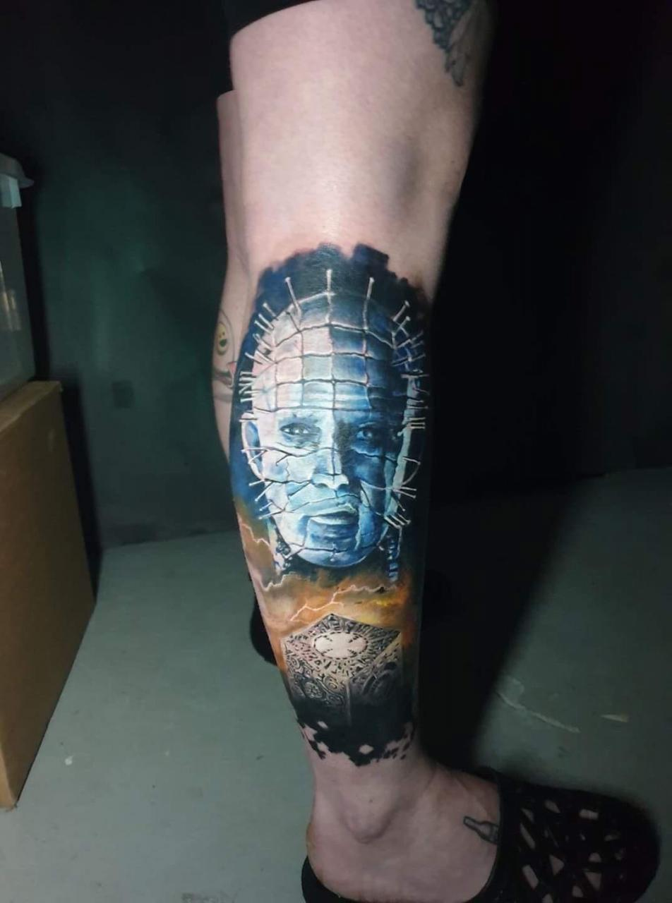 My pinhead Hellraiser tattoo. Its a start of a horror 'bad guys' leg sleeve. 8 hours, done by Ingi at Bleksmiðjan in Reykjavik Iceland
