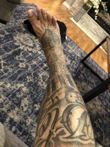 My leg tat- god gives god takes in español- zombie joe ft.worth TX