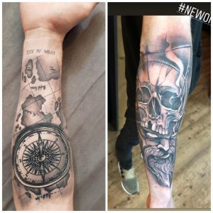Suggestions for upper arm , these are my two tattoos on my forearm