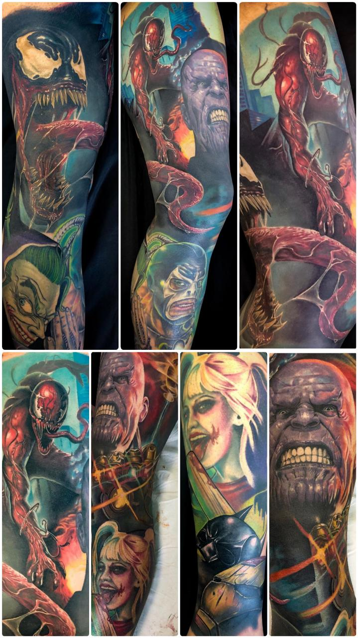 Villian leg 90-95% done. By Kyle at Sinatras Custom Tattoos, Wellington, New Zealand.