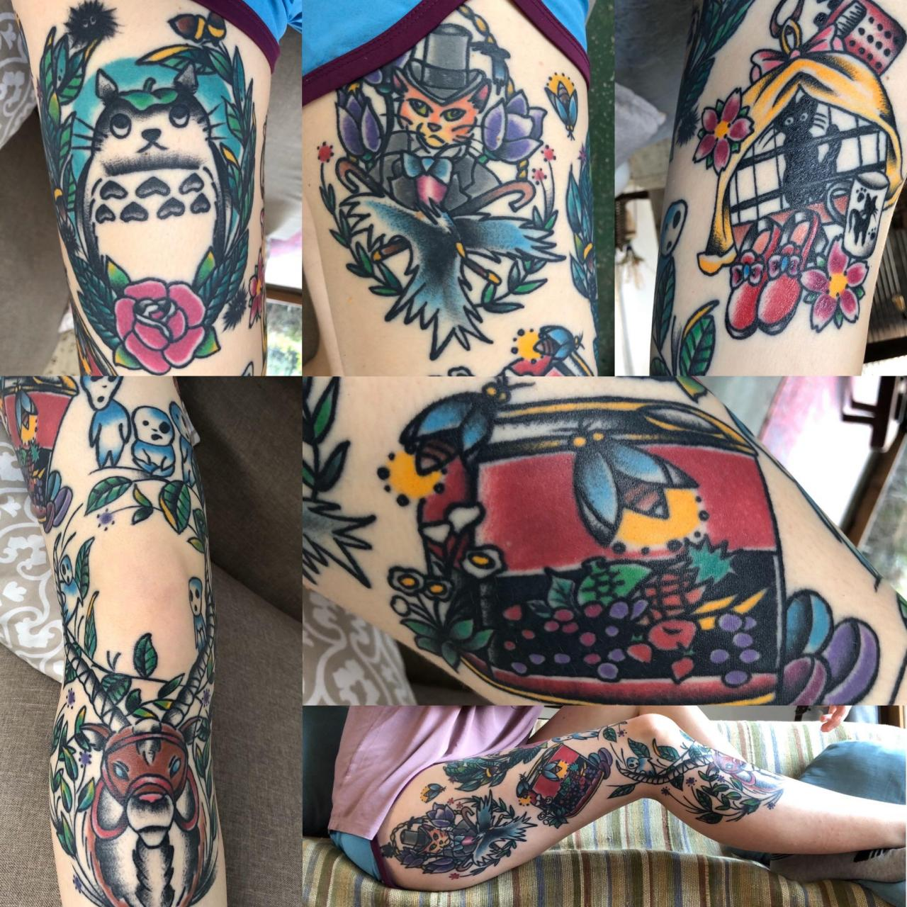 My Traditional Studio Ghibli leg sleeve progress. So far, so good.