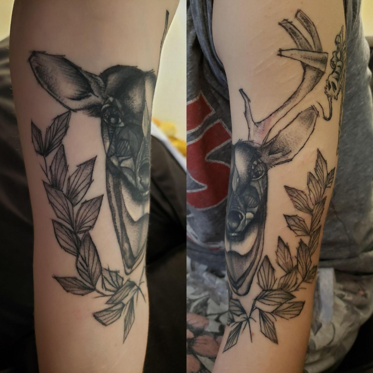 Half Doe/Half Stag on my upper left arm, by Jared Wade at Blue Rose in Huntsville, AL :)