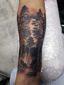 haunted forest piece I got on my arm last night. Houston, Texas