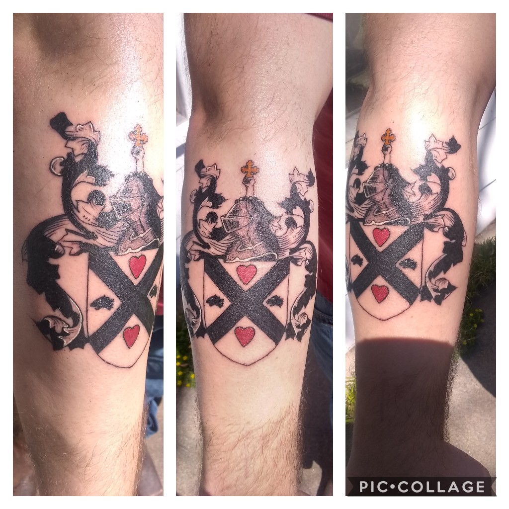 I'll see your Finnish coat of arms and raise you my Scottish family Crest. First art custom by uzi Weatherford, Texas