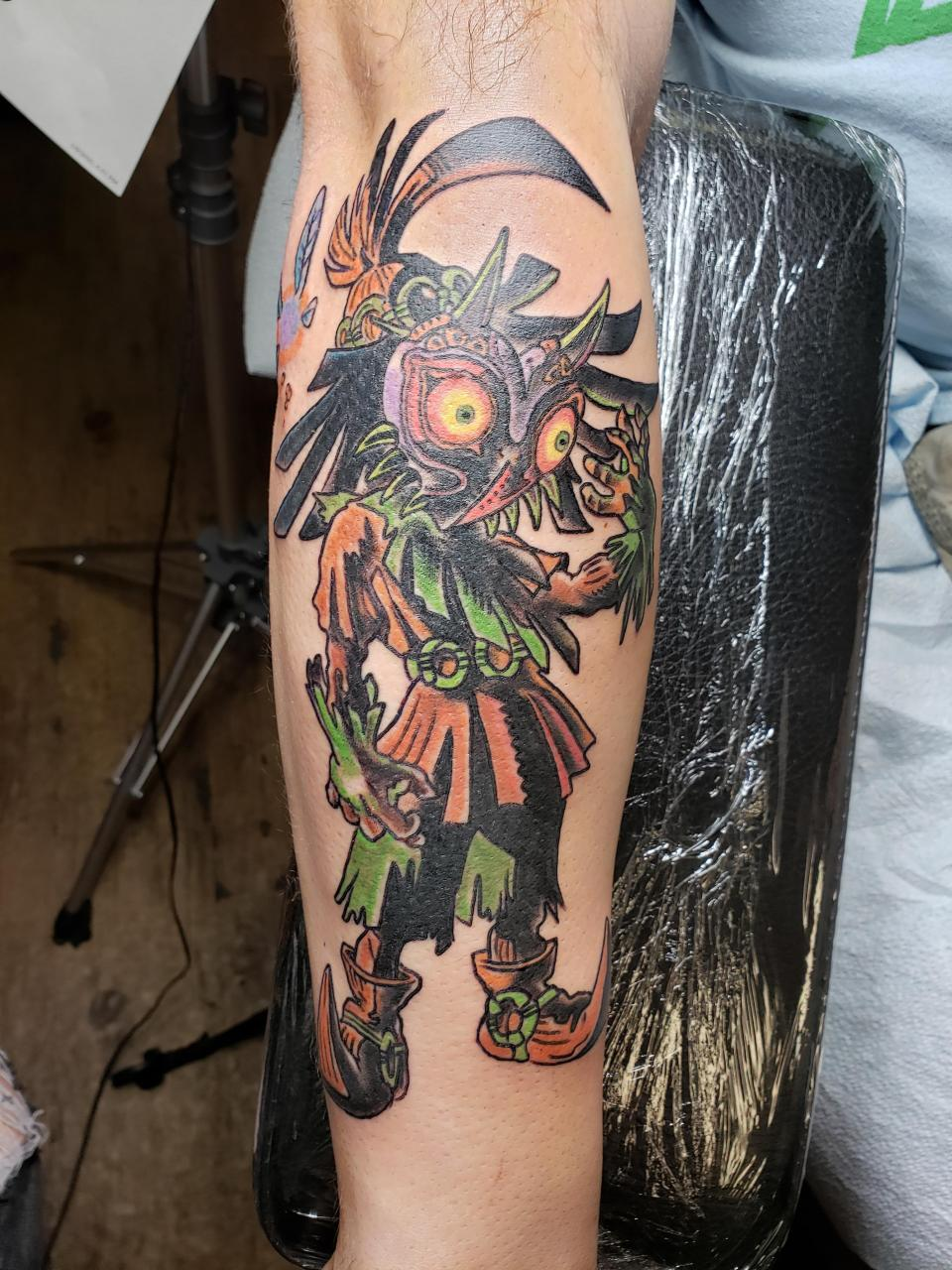 My newest addition to my arm, Skullkid done by Crystal at Mr Luckys Tattoo in San Antonio, TX.