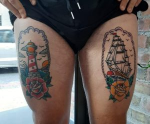 My thighs. Left leg is fresh, right leg about 2 years old. By Phil Botha, Cape Town South Africa.