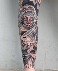 One angle of my leg sleeve. Done by Yvonne Kang, Honolulu HI @ 1 Point
