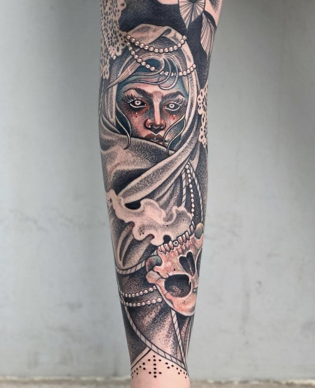 One angle of my leg sleeve. Done by Yvonne Kang, Honolulu HI @ 1 Point