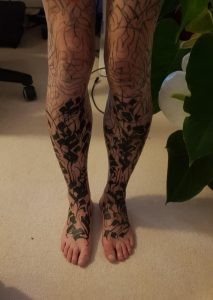 4 sessions deep into a pair of leg sleeves - by Gordo at Lacemakers Sweatshop in London