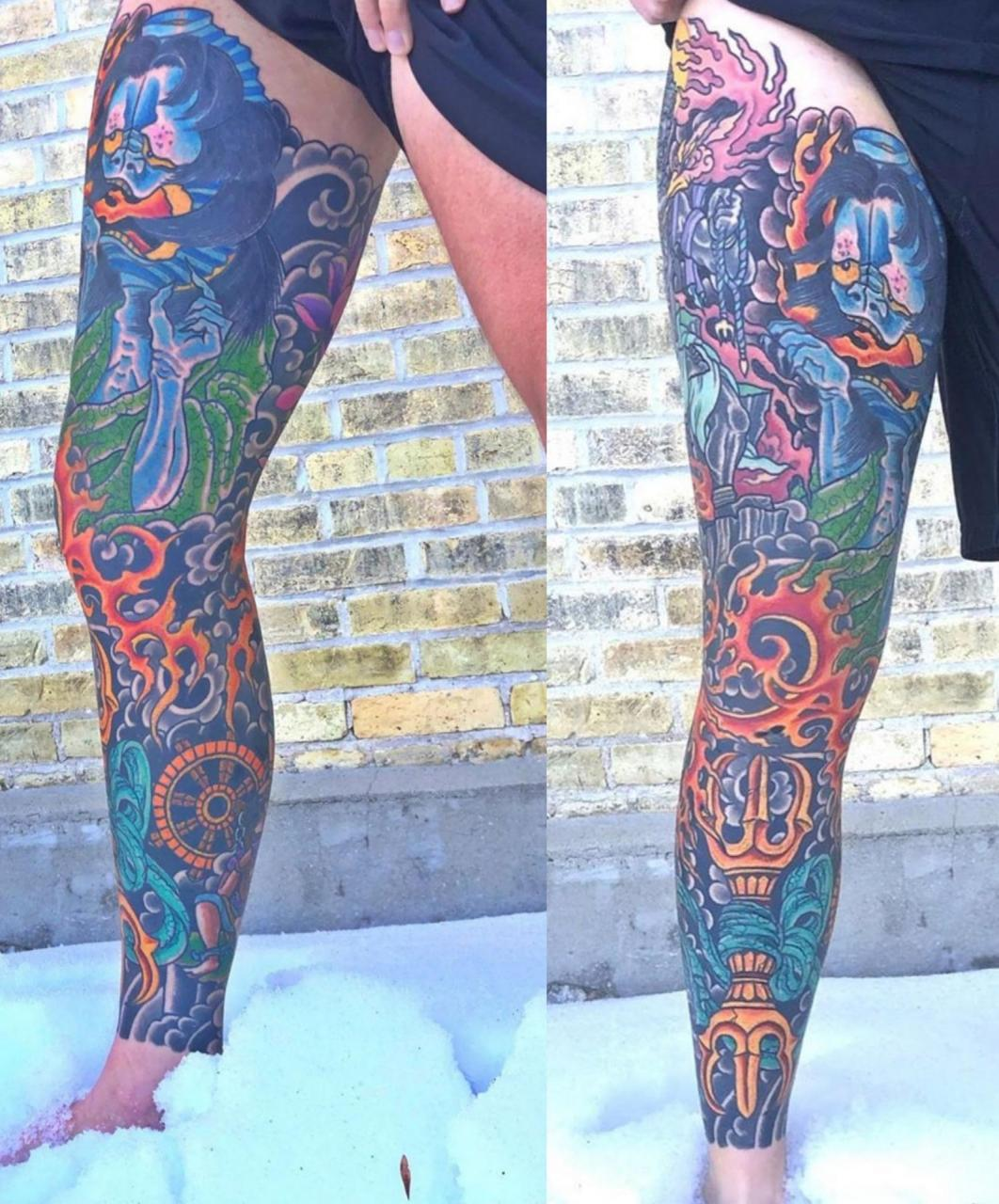Finally got my leg sleeve coloured in by Mark Longenecker in back to back days up at the Winnipeg tattoo show
