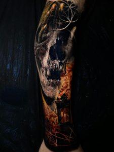 Leg skull, flames, geometry, by Diogo Nunes, Remis Tattoo, Dublin Ireland