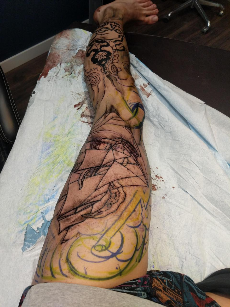 Left leg sleeve started by Prairie tattoo okatoks Alberta