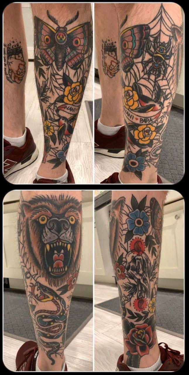 My healed traditional leg sleeve by Alexx Colombo @ Michelangelo's in Medford, NY