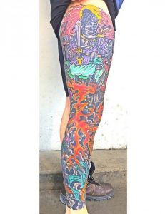 An outside angle of my leg sleeve done by Mark Longenecker. Picture was taken the day after 2 consecutive days of colour.