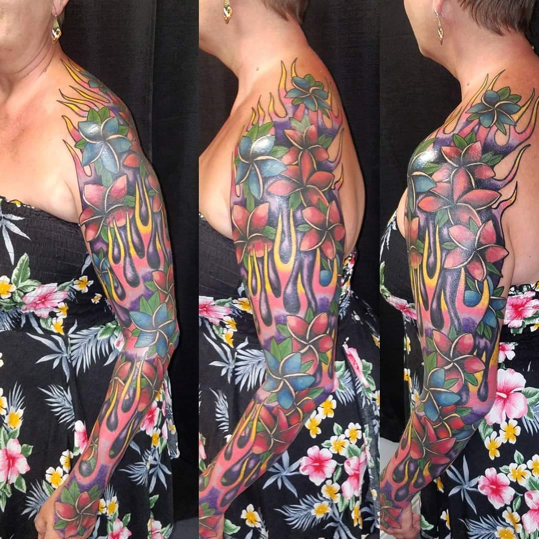 Flames and Flowers arm sleeve by Tucker on me at TC Tattoo Kona - almost complete.